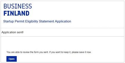 Startup permit application sent confirmation message